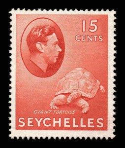 Seychelles 1938 KGVI 15c brown-carmine chalk paper SG 139a mint CV £28