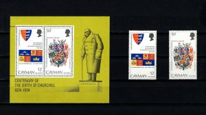 CAYMAN IS - 1974 - SIR WINSTON CHURCHILL - FLAG - ARMS + MINT MNH SET + S/SHEET!