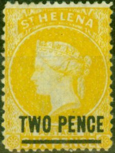 St Helena 1876 2d Yellow SG22 Fine Mtd Mint