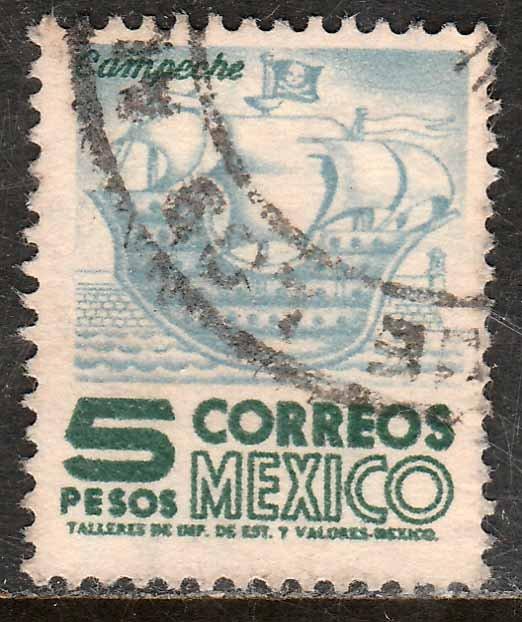 MEXICO 929, $5Pesos 1950 Definitive 2nd Printing wmk 300. USED. F-VF. (1420)