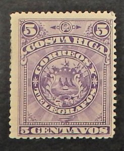 Costa Rica 37a. 1892 5c Violet Arms