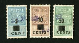 Eritrea Stamps # VF 3 Value Revenues Used