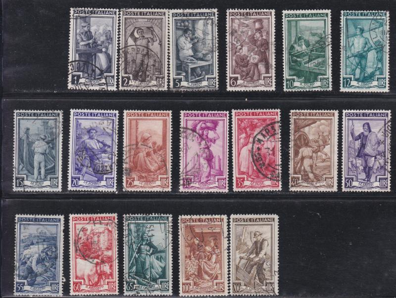 Italy # 550-567, Occupations, Used, 1/2 Cat.