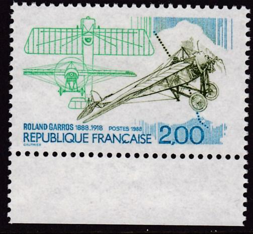 France 1988 2fr. Roland Garros 1st Pilot to Fly Across the Mediterranean   VF/NH
