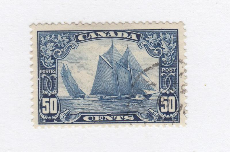 CANADA  # 158 VF-50cts BLUENOSE PART CORNER CANCEL CAT VALUE $100+