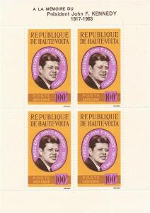 Burkina Faso - 1964 John F. Kennedy - 4 Stamp Souvenir Sheet #C19a