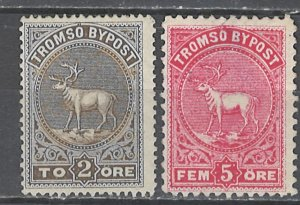 COLLECTION LOT # 2553 NORWAY TROMSO LOCAL POST 2 STAMPS 1883