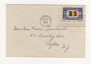 US - 1943 - Scott 914 FDC - Belgian Flag