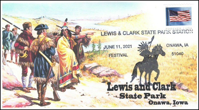 21-215, 2021, Lewis and Clark State Park, Event Cover, Pictorial Postmark, Onawa