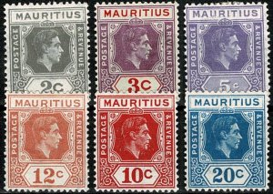 MAURITIUS 1938-49 KG VI 3c-20c (6 STAMPS) PART SET SG252-55-56-58 Wmk.MSCA VGC