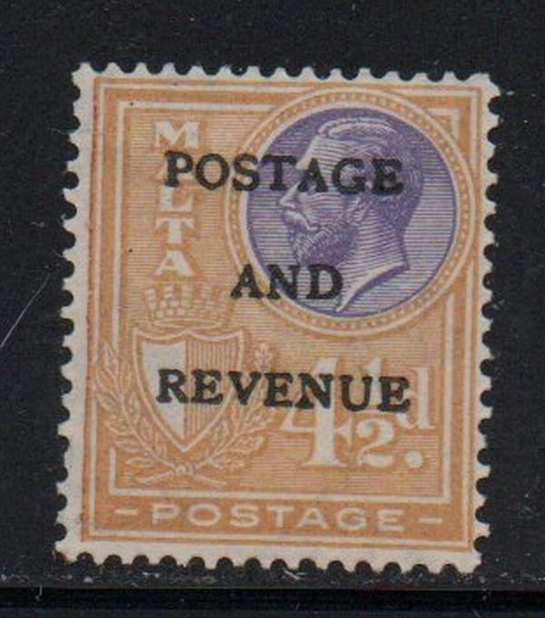 Malta Sc 158 1928 4 1/2d G V Postage & Revenue overprint stamp mint