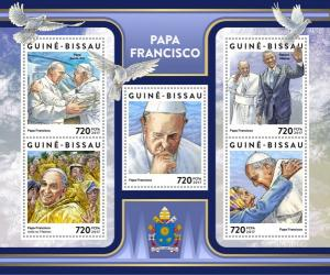 GUINEA BISSAU - 2017 - Pope Francis - Perf 5v Sheet - MNH