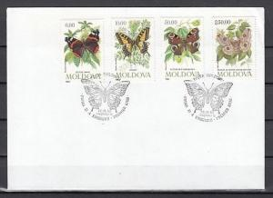 Moldova, Scott cat. 94-97. Butterflies issue on a Plain First day cover. ^