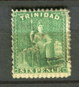 TRINIDAD; 1870s early classic QV issue used Shade of 6d. value