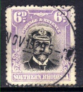 Southern Rhodesia 1924 - 29 KGV 6d Black & Mauve used SG 7 ( D1206 )