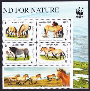 Mongolia WWF Przewalski's Horse Top Right Block of 4 with WWF Logo SG#2861-2864