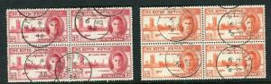 ST.KITTS NEVIS; 1946 early GVI Victory issue set in Used Blocks