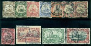 GERMAN EAST AFRICA #11-21a Complete set, Kaisers Yacht, used w/town cancels, VF