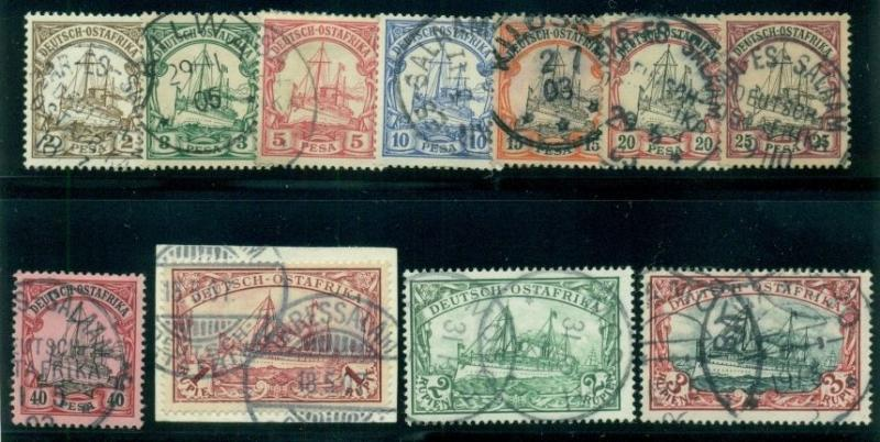 GERMAN EAST AFRICA #11-21a Complete set, Kaisers Yacht, used w/town cancels, VF,
