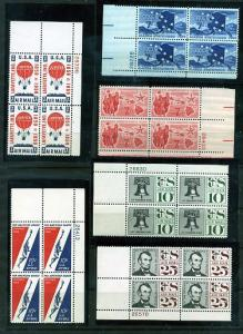 6 Air Mail Plate Blocks of 4