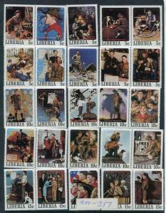 Liberia 1979 Norman Rockwell Boy Scout 2 Perf, 1 Imperf se-tenant Pairs RRR 6133