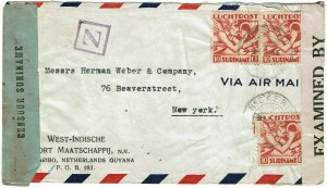 Surinam 1943 Nickerie cancels on airmail cover to U.S., local and U.S. censored