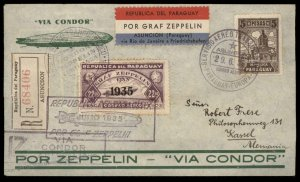 Paraguay 1935 Graf Zeppelin 7 SAF Si310 Registered Cover 97063