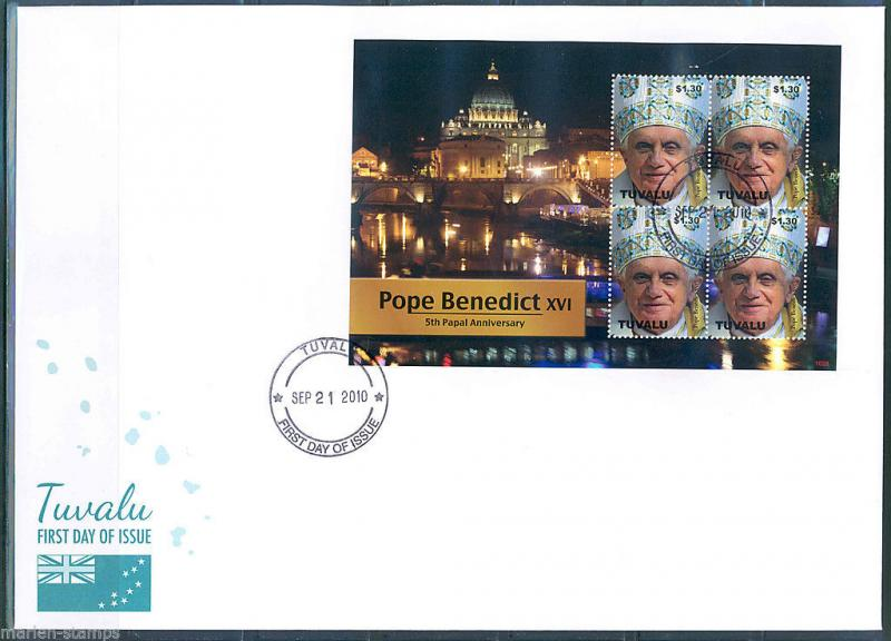 TUVALU  5th PAPAL ANNIVERSARY POPE BENEDICT XVI  SHEET II FIRST DAY COVER