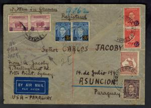1942 Sydney Australia Dual censored Cover to Asuncion Paraguay