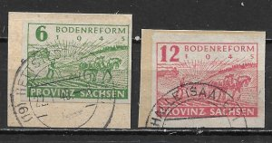 Germany Saxony 13N13-14 Land Reform set Used on cut (z1)