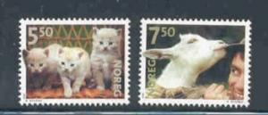 Norway Sc 1316-7 2001 Pets kittens & goat stamp set mint NH