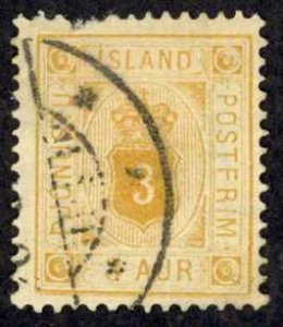 Iceland Sc# O4 Used (missing perfs) 1876-1895 3a Official