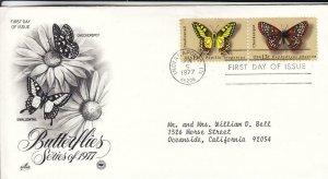 1977, Butterflies-Checkerspot, Swallowtail, Artcraft/PCS, FDC (E8136)
