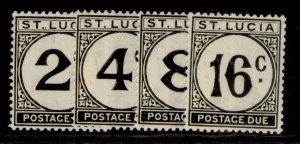 ST. LUCIA GVI SG D7-D10, complete set, NH MINT. Cat £22. ORDINARY PAPER