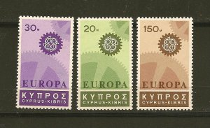 Cyprus 297-299 Europa 1967 Mint Hinged