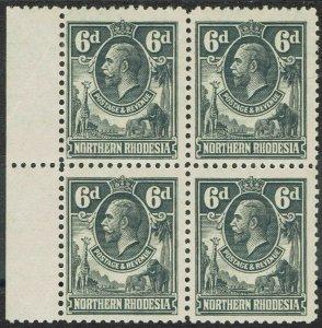 NORTHERN RHODESIA 1925 KGV GIRAFFE AND ELEPHANTS 6D */** BLOCK