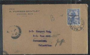 MALTA  (PP2708B) 1930 MELITA 2 1/2D VALETTA TO JERUSALEM FWD TO JAFFA B/S