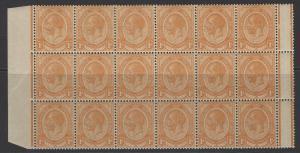 SOUTH AFRICA SG12 1913 1/- ORANGE MNH BLOCK OF 18