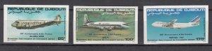 DJIBOUTI SC# C177-C179 AIR FRANCE 50th. ANNIVERSARY - MNH -  IMPERF