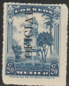MEXICO O184, 20c OFFICIAL opt. reading up. Unused, H OG. F-VF.