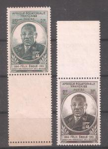 French Equatorial Africa 1945,Felix Eboue Omnibus,Sc 156-157,VF MNH**OG
