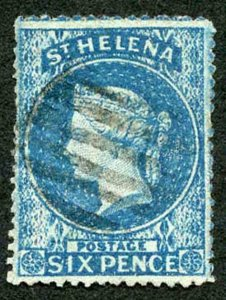 St Helena SG2 6d Wmk Large Star Clean Cut Perf 14 to 16 Cat 275 Pounds