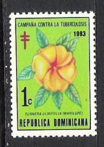 DOMINICAN REPUBLIC RA98 MNH FLOWER S252