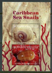 BEQUIA  2019 SEA SNAILS OF THE CARIBBEAN  SOUVENIR SHEET MINT NEVER HINGED