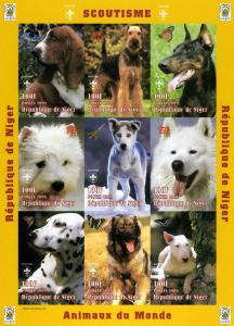Niger 1998 DOGS SCOUTING Sheet Imperforated Mint (NH)