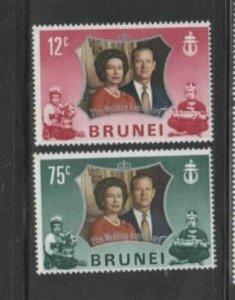 BRUNEI #186-187 1972 SILVER WEDDING ISSUE MINT VF NH O.G