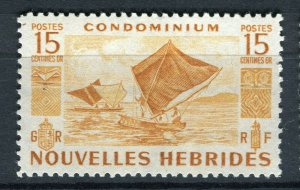 FRENCH; NEW HEBRIDES 1953 early pictorial issue fine Mint hinged 15c. value