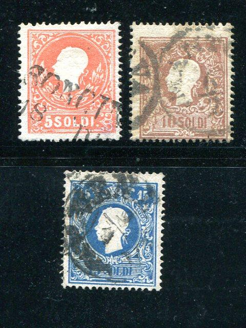 Austria Lombardy #10a,11a,12a Used F-VF Cat $450