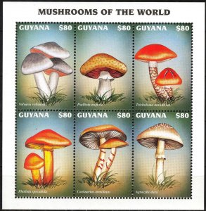 Guyana 1997 Mushrooms Sheet MNH