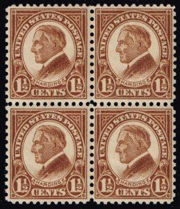 US STAMP #633 1926-28 Rotary Stamps 1 ½¢ Warren G. Harding MNH BLK OF 4